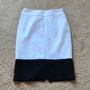 The limited black & white color block pencil skirt